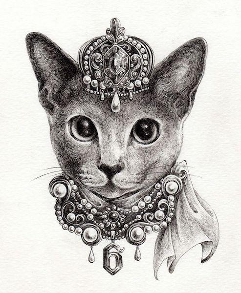 猫とジュエリーの絵画 by 佐藤さやか