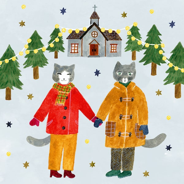 クリスマスに手をつなぐ猫のカップル by 12月25日の願掛け