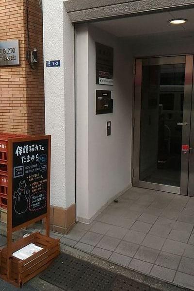 人形町の保護猫カフェ「たまゆら」の入口