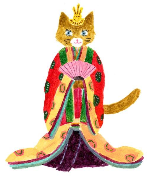 十二単を着る猫のイラスト by 1月3日の願掛け