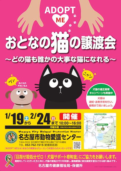 おとなの猫の譲渡会ポスター by 名古屋市動物愛護センター