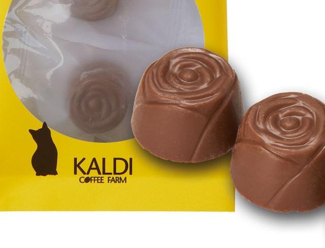 カルディのバラ型に仕上げたミルクチョコレート