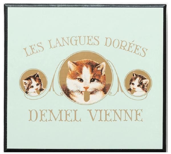 デメルのバレンタインチョコレート「ソリッドチョコ猫ラベル ミルク」のパッケージ
