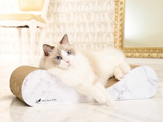 猫用ソファーと一体型の爪とぎ「ガリガリソファスクラッチャー」 by necosekai