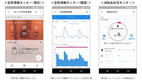 スマートフォンの画面で空気清浄機の効果を確認するイメージ