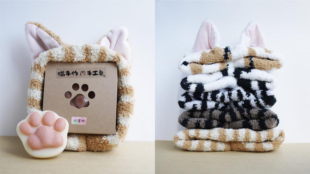 モコモコ猫耳ヘアバンド + 肉球石鹸セット