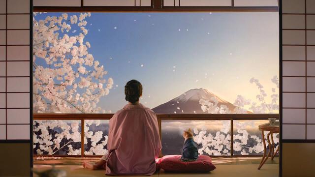 温泉宿の窓から富士山を眺める多部未華子とにゃらん