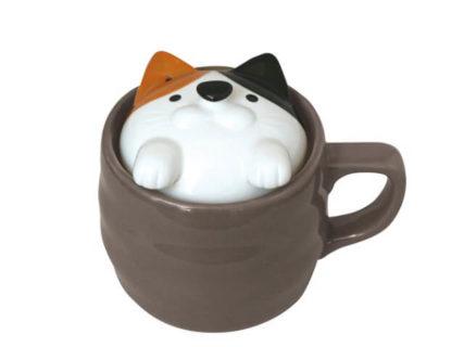 電子レンジで7分ニャ!お米が炊けるかわいい三毛猫のマグカップが登場