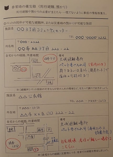 猫の情報を記録する手帳「ねこライフ手帳 ベーシック」の記入例