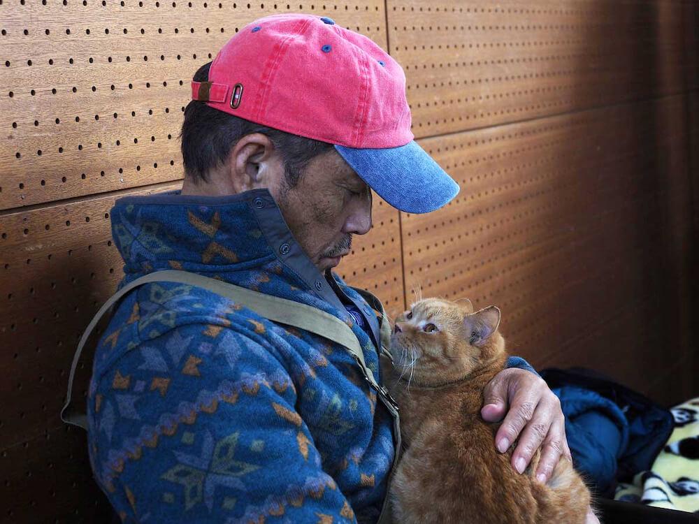 小林薫さんと見つめ合う茶トラ猫の「のん(ねことじいちゃんの「まろにー」役)」