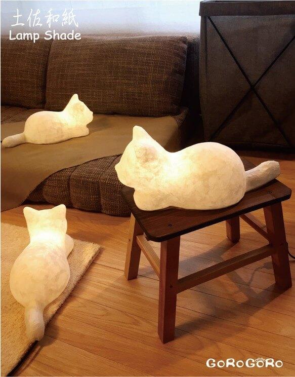 GOROGORO KOYONAKU/和紙猫ランプ