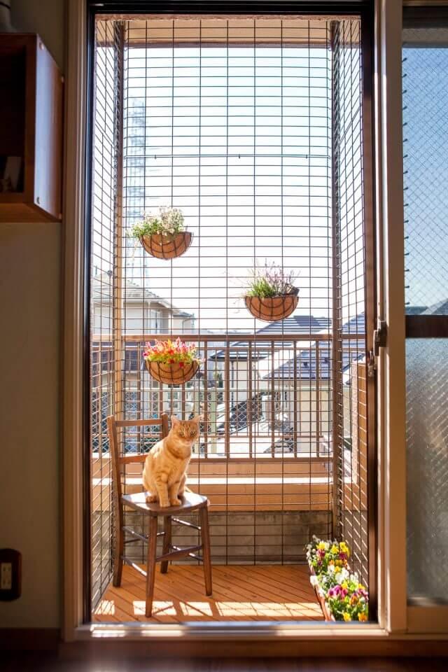 ベランダに出られる猫テラス by 梅が丘森ビルのモデルルーム