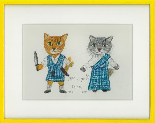 イギリスの衣装を着た猫のリトグラフ by あきびんご