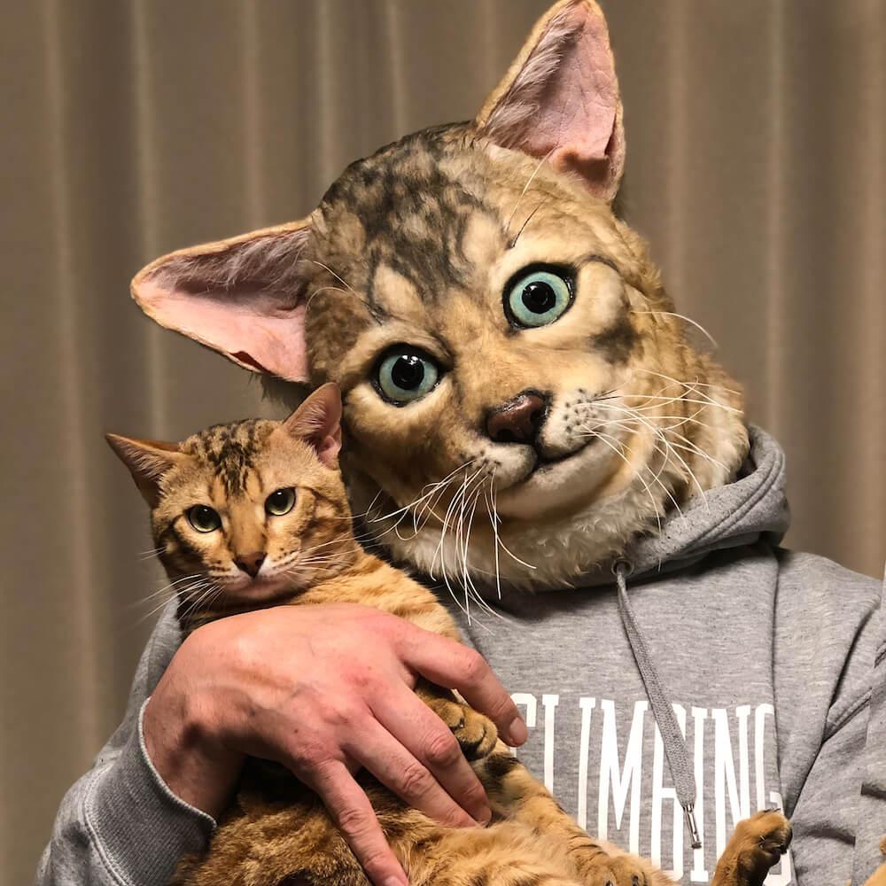 猫をモデルに制作した超リアルペットマスク『My Family(マイファミリー)の装着イメージ