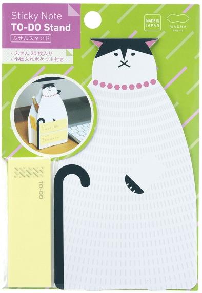 猫の形をした付箋スタンドの商品パッケージ byMARNA