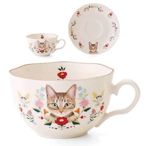 お花と猫のカップ&ソーサーの会、キジトラ猫のデザイン