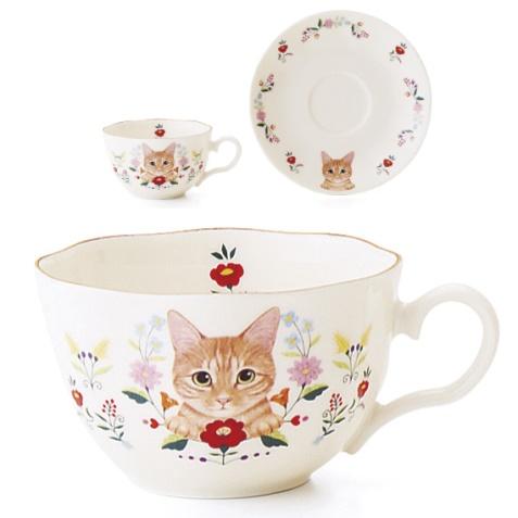 お花と猫のカップ&ソーサーの会、茶トラ猫のデザイン