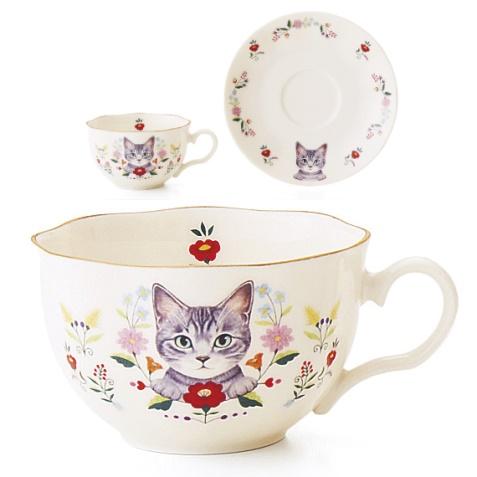お花と猫のカップ&ソーサーの会、サバトラ猫のデザイン