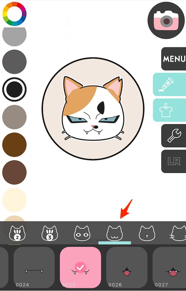 猫の口元の形を選択する画面 by 猫アイコンジェネレーター「CHARATねこメーカー2」