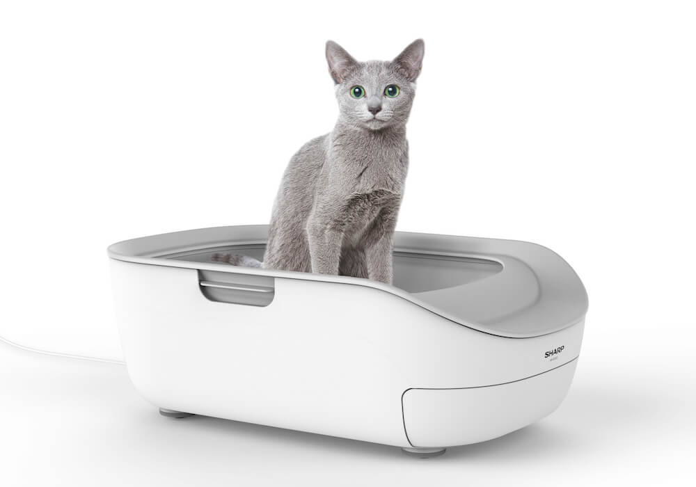 シャープのスマート猫トイレ「ペットケアモニター」を猫が使用しているイメージ