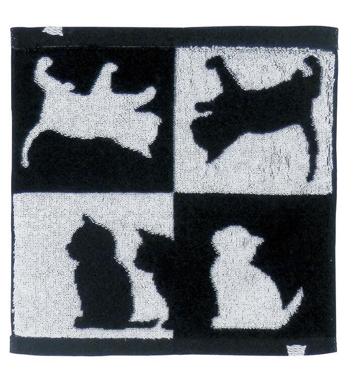 猫シルエット柄の今治ハンカチタオル