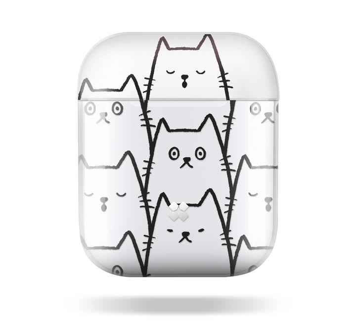 猫のイラストがデザインされたAirPods(エアポッズ)のケース(正面イメージ)