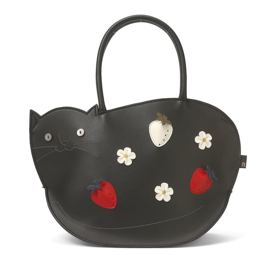 猫デザインのトートバッグ「Mon Chat(モンシャ)」のブラックカラー「EU.デリ.モンシャ-A (Fraise)」