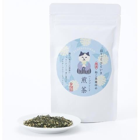 ねこ茶商印のハーブブレンド煎茶、商品パッケージ