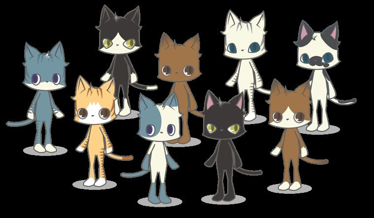 位置情報ゲーム「ビットにゃんたーず」に登場するネコキャラたち