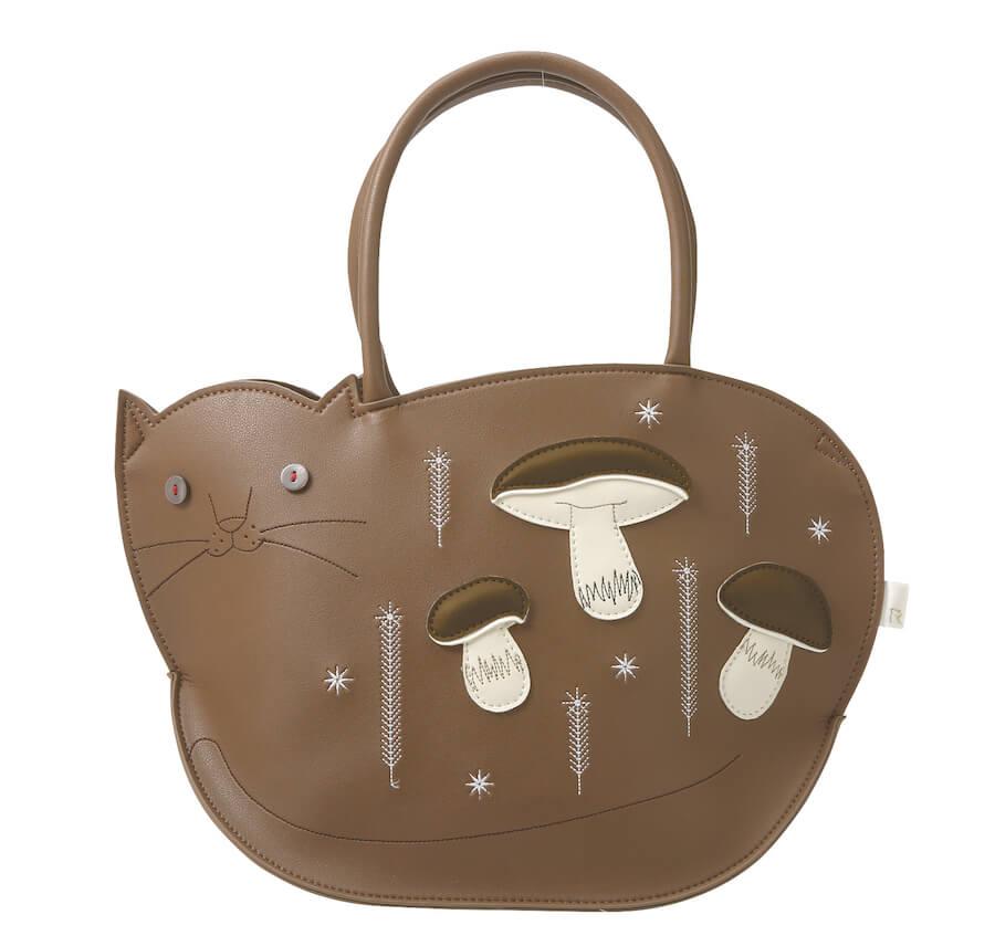 猫デザインのトートバッグ「Mon Chat(モンシャ)」のブラウンカラー「EU.デリ.モンシャ-B (champignons)」