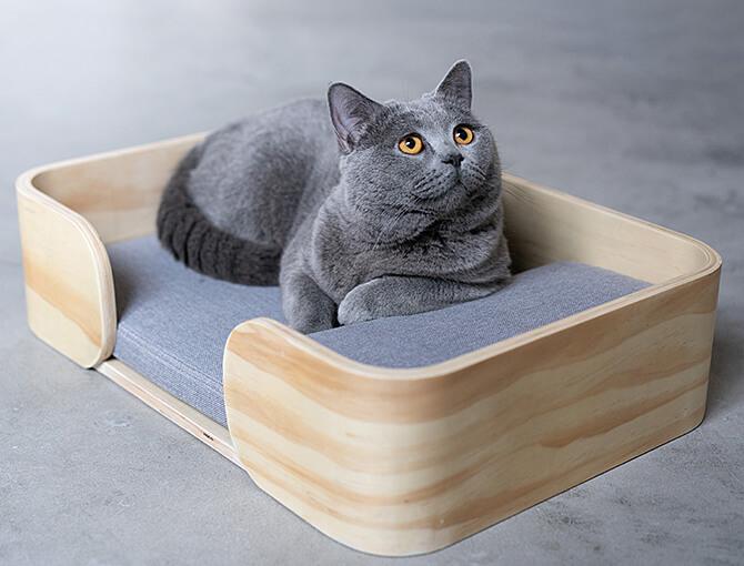 木製のレクタングル型猫用ベッド by パリ発の猫用品専門ブランド「pidan(ピダン)」