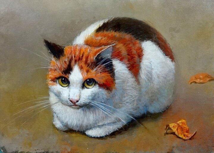 画家・吉本哲が描いた猫の絵画/作品タイトル「秋」