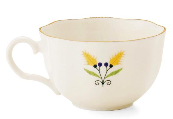 ティーカップの猫イラストの反対側にデザインされている花柄