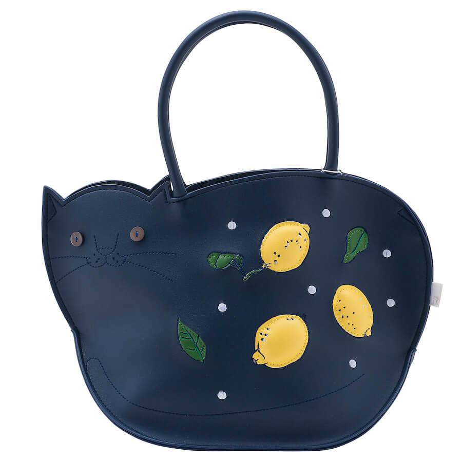 猫デザインのトートバッグ「EU.デリ.モンシャ-C(Citron/シトロン)」の前面イメージ
