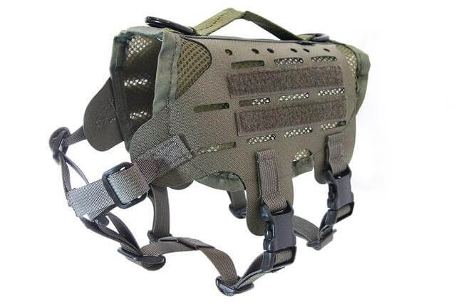 犬猫用ベスト「M4 Tactical MOLLE Vest Laser Cut」のレンジャーグリーンカラー