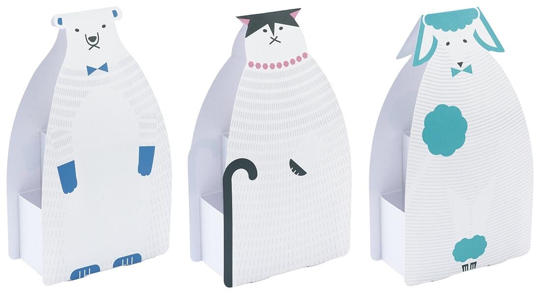 動物モチーフのふせんスタンド(クマ、ネコ、プードル)