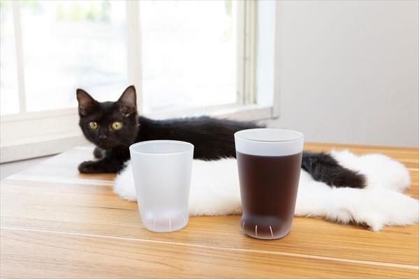 黒猫とコーヒーを注いだ「ここねこグラス」
