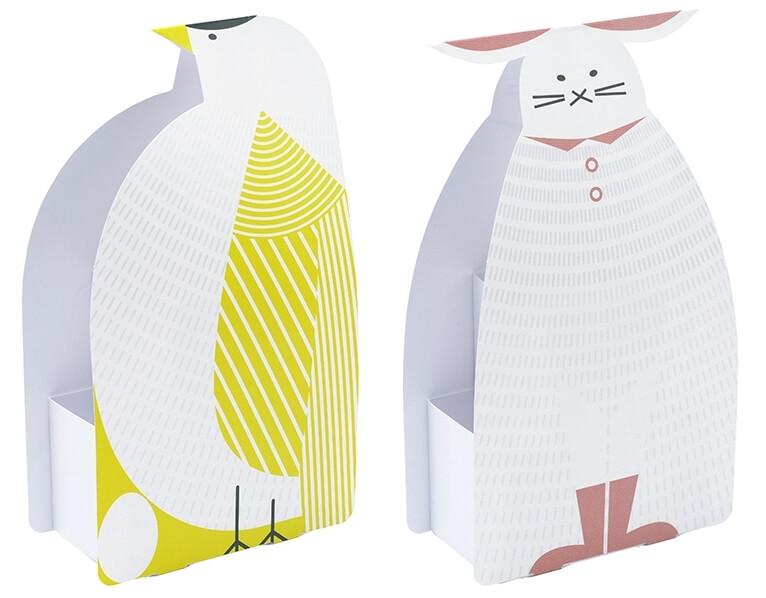 動物モチーフのふせんスタンド(トリ、ウサギ)