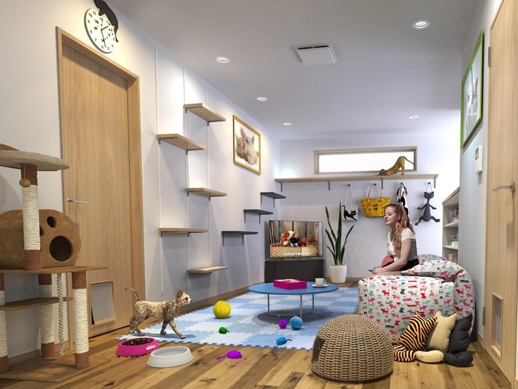 愛和が開発した猫仕様のアパート室内イメージ