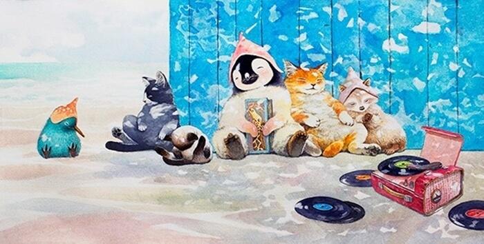 猫のイラスト「まなつ」昼寝(原画)/119,800円