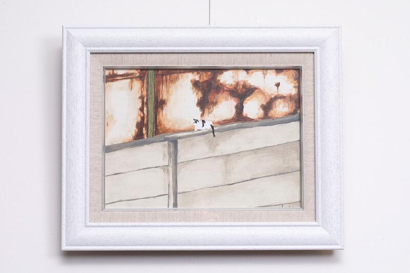 加藤健一(美術学部 油画専攻3年)が制作した猫の絵画「ねこがいた。」準猫大賞 受賞作品
