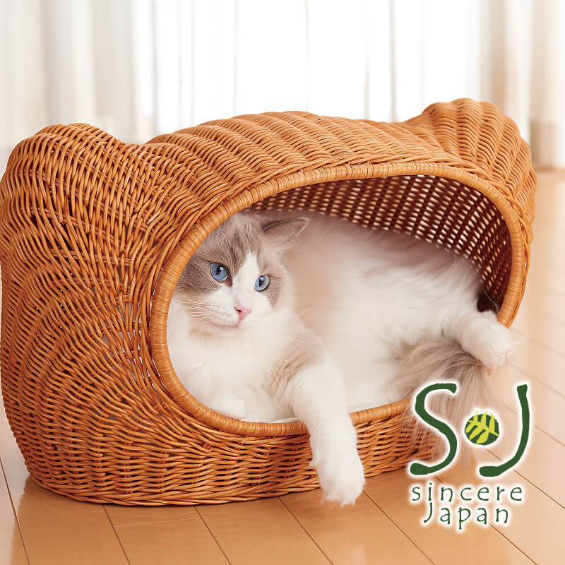 ラタン製の猫ハウス by shincere japan(シンシアジャパン)