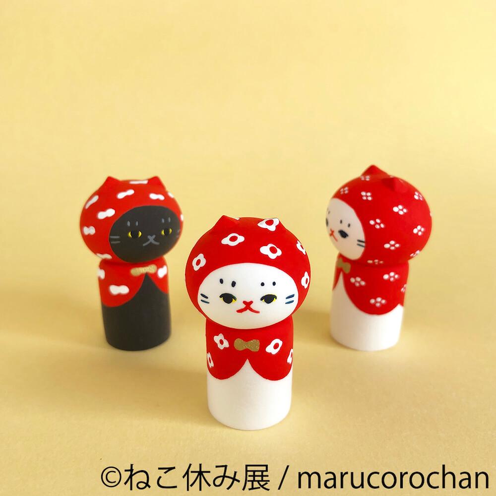 置物◎猫こけし(赤頭巾様) by marucorochan