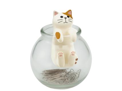 クリップの収納場所に困っているネコ好きさんは必見「壺ねこクリップボトル」
