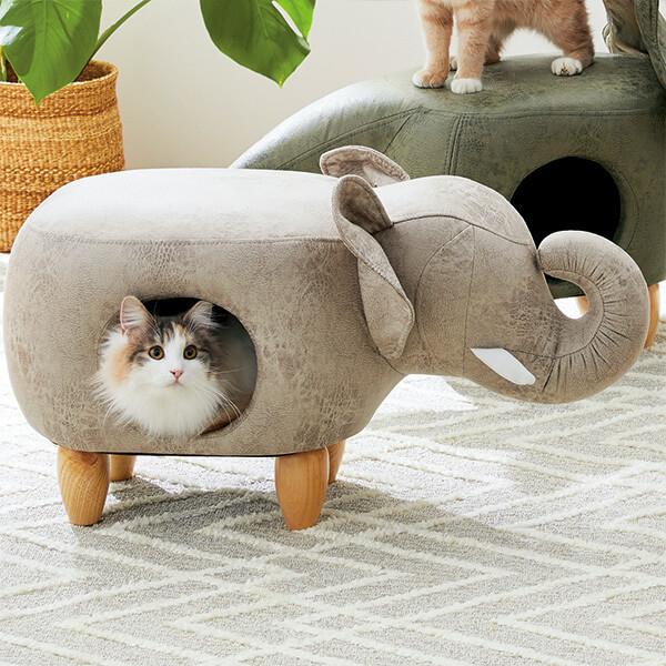 エレファント型の猫ハウスに潜る猫「my アニモ」by PEPPY