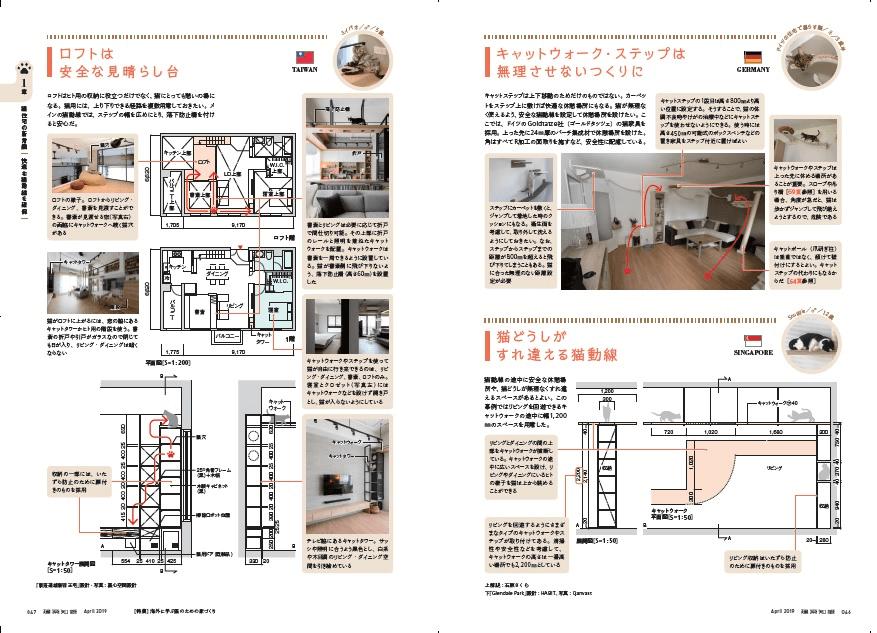 「建築知識2019年4月号 猫との暮らしの新常識」第一章のサンプルページ