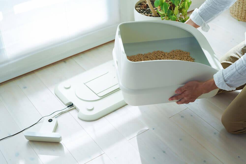 スマート猫トイレ「toletta(トレッタ)」のお手入れ&設置イメージ