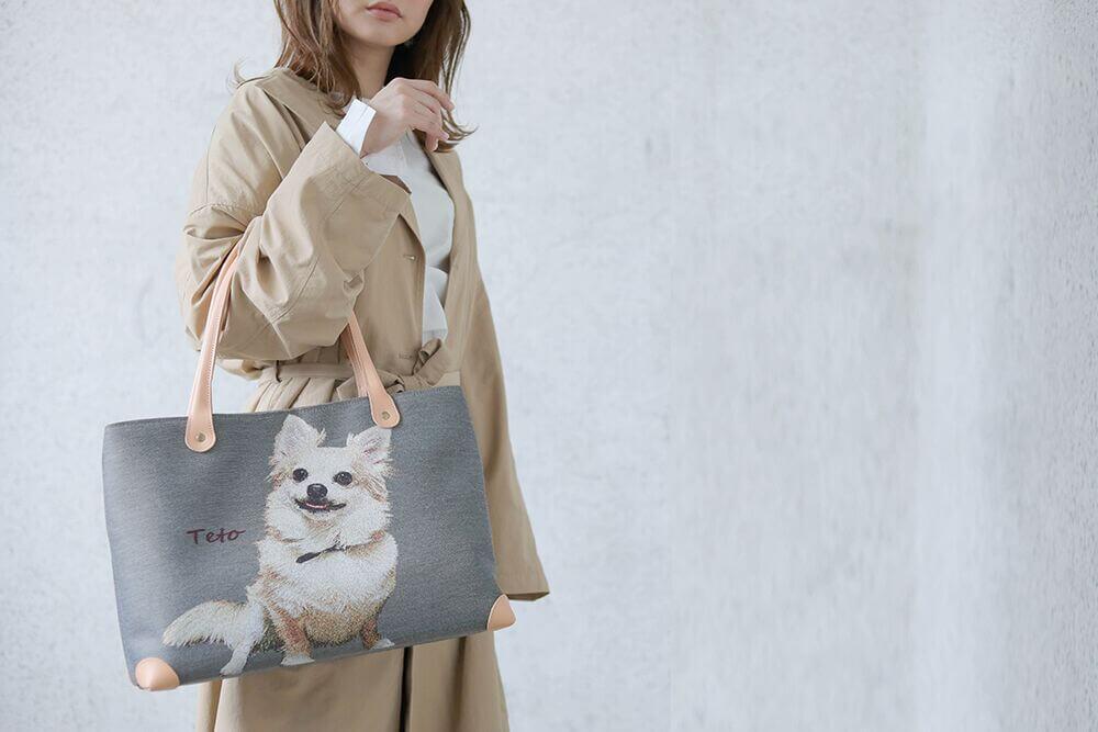 犬の写真から製作したジャカードのバッグ byハグペット
