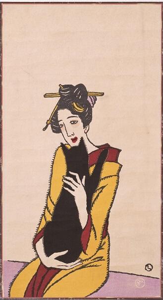 竹久夢二/黒猫を抱く女(柳屋版)/1920年