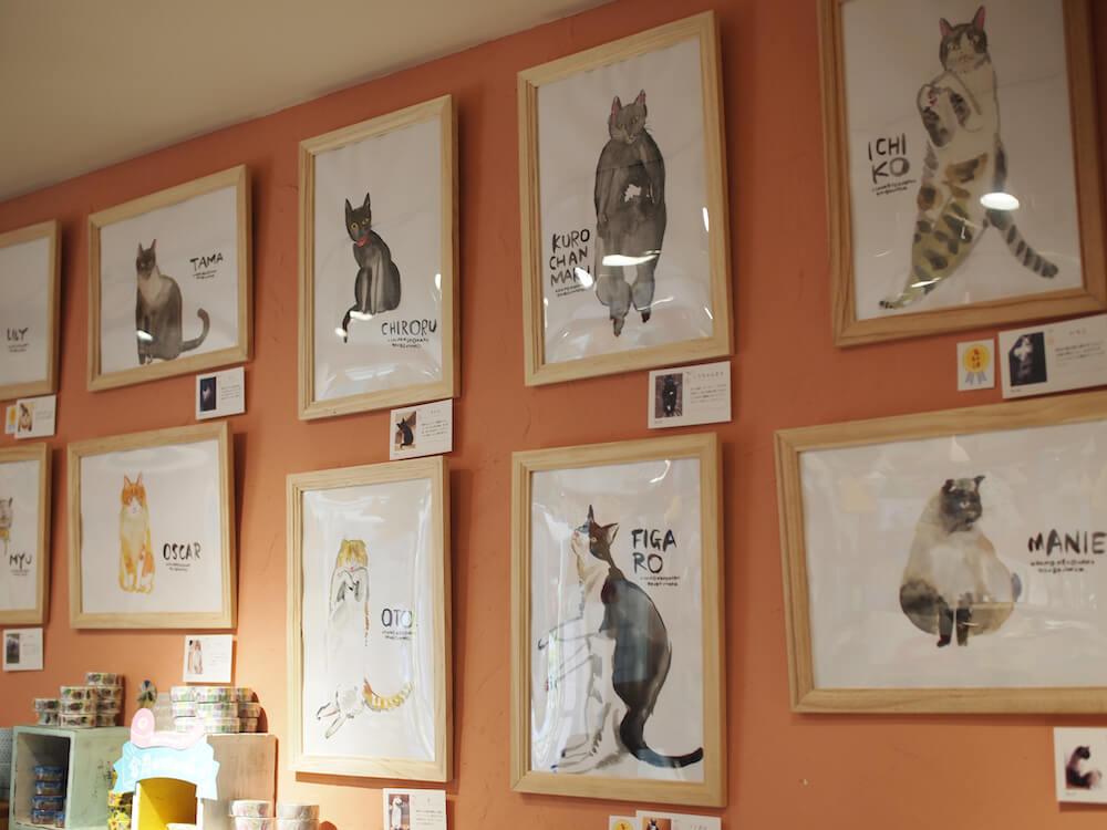 一般公募の猫をモデルにして製作したイラストを展示・販売